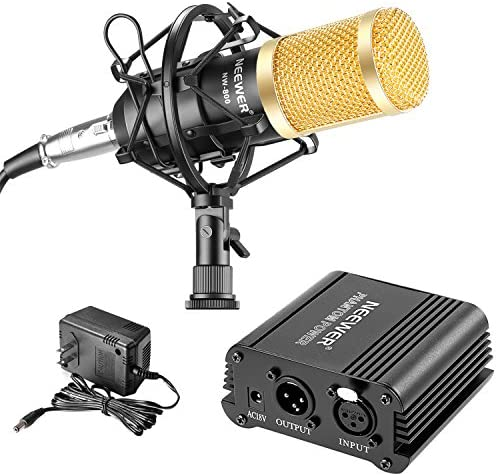 Neewer NW-800 Microphone & Phantom Power kit: (1)NW-800 Microphone+(1)48V Phantom Power+(1)Power Adapter+(1)Shock Mount+(1)Anti-wind Foam Cap+(1)XLR Audio Cable+(1)Microphone Power Cable