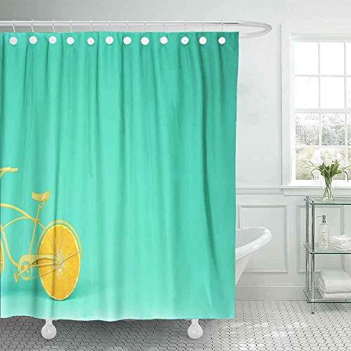 Farbenfroher Duschvorhang, cooler Duschvorhang mit gelbem Fahrrad, orangefarbene Räder, ges&er Lifestyle-Konzept, türkiser Pastellhintergr&, Duschvorhang für Frauen, 183 x 183 cm