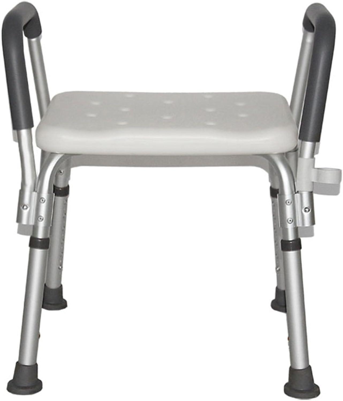 FJXLZ? Shower chair, With armrests Height adjustable Old man Shower chair Bathroom Aluminum alloy Bath chair Detachable, lightweight