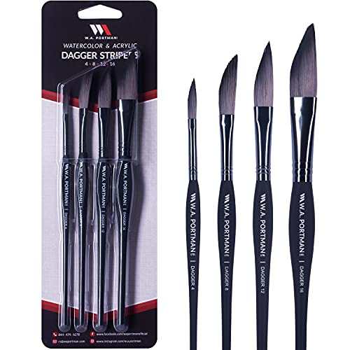 W.A. Portman Dagger Synthetic Paint Brushes Set - 4 Soft Touch Multipurpose Striper Watercolor Brushes - Dagger Brushes for Oil Watercolor & Acrylic Paint - Triangular Comfort Grip 4 - 8 - 12 - 16