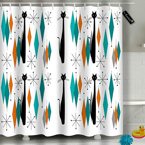 "Randell Decor Shower Curtain Set Mid Century Modern with Black Cat Bathroom Accessories 72""(W) 72""(L)."