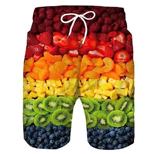 Hot Fruit, Piña y Otros Impresión 3D Moda Verano Pantalones Cortos de Playa Sección a 5X