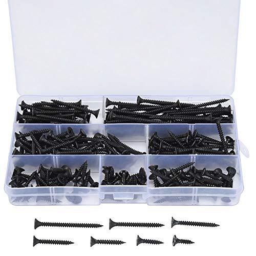 230 Kits de Vis à Bois Autotaraudeuses Vis M3.5, Filetage Pointu Vis - 3.5mm x (16/20/25/30/35/40/50 mm), pour Cloisons SèChes, Meubles En Bois, Parties Fixes. (230 Kits-noir)