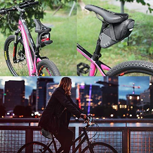 自転車サドルバッグYblntek自転車バッグ防水大容量小物収納ロードバイクバックシートバッグストラップ式装着便利反射材付きサイクリング用ブラック