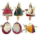 Decorazione per albero di Natale - Vigilia di Natale in famiglia, regalo di Natale e Capodanno - Ciondoli natalizi staccabili - Ornamenti da appendere alla parete, Porta - (Babbo Natale + Angelo)