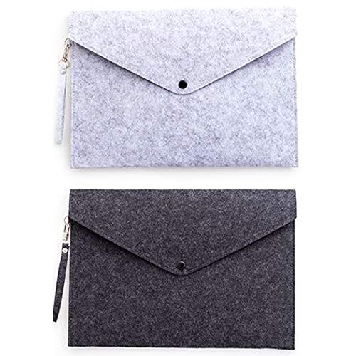 Warooma 2 Stück A4 Ordner tragbare Filz Hängemappen Büro Aktentasche Dokumententasche Papiermappe Briefumschlag