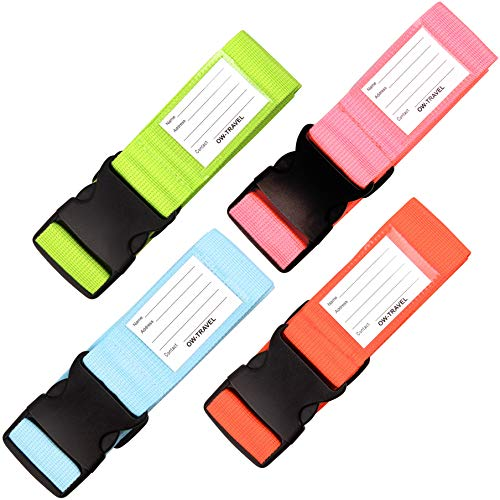 Personalised Luggage Straps for Suitcases (4 Pack Blue Green Orange Pink) OW-Travel Easy to Spot Sturdy Suitcase Straps with Luggage labels.Luggage Strap Travel Belt for Suitcase Bag Baggage.Bag Strap