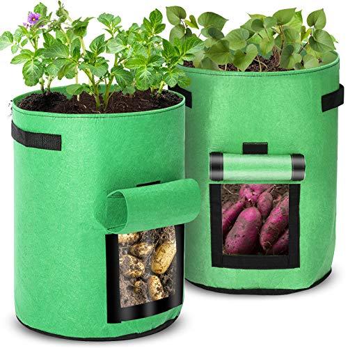 Orlegol Pflanzen Tasche, Kartoffel Pflanzsack, 43L Pflanzsack aus Vliesstoff, Pflanztasche mit Griffen und Sichtfenster Klettverschluss, Dauerhaft Atmungsaktiv Pflanzbeutel Gemüse Grow Bag Pflanzsäcke