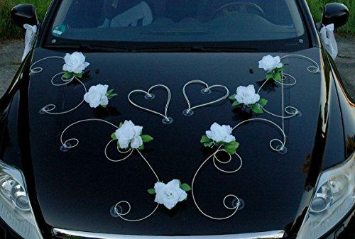DEKOR Auto Schmuck Braut Paar Rose Deko Dekoration Autoschmuck Hochzeit Car Auto Wedding Deko PKW (Weiß / Weiß)