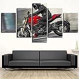 YUXIXI Póster De Moto Cross-Running Canvas Set De 5 Cuadros Cuadro En Lienzo Detrás De La Cortina, Arte para Pared, Cuadro Impresión, Cuadro Decoración*/