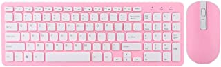 2.4G Wireless Keyboard Mouse Combo,Slim Thin Wireless Keyboard Mouse with On/Off Switch,Ergonomic Design,Stable Connection Adjustable DPI,108 Keys Keyboard,4 Buttons Mice for Office,Game(Pink)