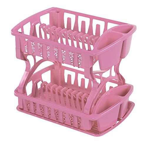 Torosqui Escurridor de platos 2 pisos de plástico (ROSA)