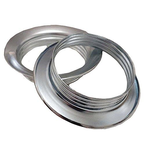 2 Stk. Schraubring E27 Metall Chrom f. Lampen-Fassung Ring Höhe 13mm für Lampen-Schirm oder Glas-Elemente