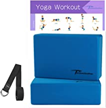 """Timberbrother 2 Pack Yoga Blocks and 1 Yoga Strap with Yoga Workout Poster 16.5""""x 22.4"""" - Choose Your Color & Size"""