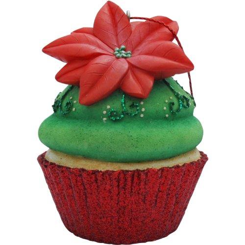 Jillson Roberts Cupcake de Noël Ornement, Vert Poinsettia Paillettes