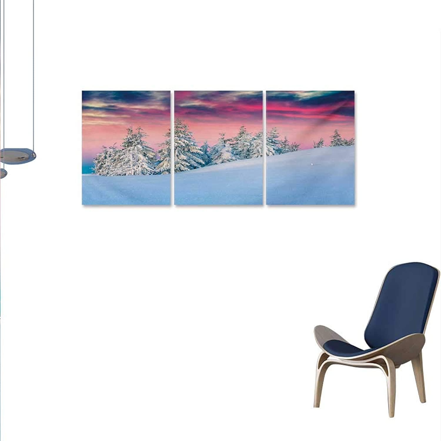 Winter 3 Piece Canvas Wall Art Idyllic Scenery in Snow Covered Serene Mountains Pine Tree Forest Majestic Sky Print Paintings for Home Wall Office Decor 16 x24 x3pcs Pink bluee Cream