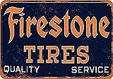 JOHUA Fireston - Cartel de metal con diseño de neumáticos de metal, para garaje, casa, cafetería, oficina, decoración de pared