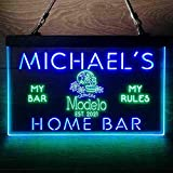 Cerveza Modelo Skull Beer Bar Custom Personalized My Home Bar Decor Colorful LED Neon Sign Man Cave Light Green & Blue W12 x H8
