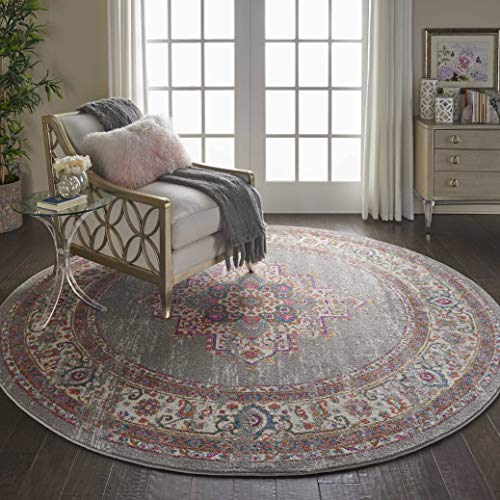 Nourison PSN03 Passion Bohemian Grey Area Rug 8'x Round, XROUND