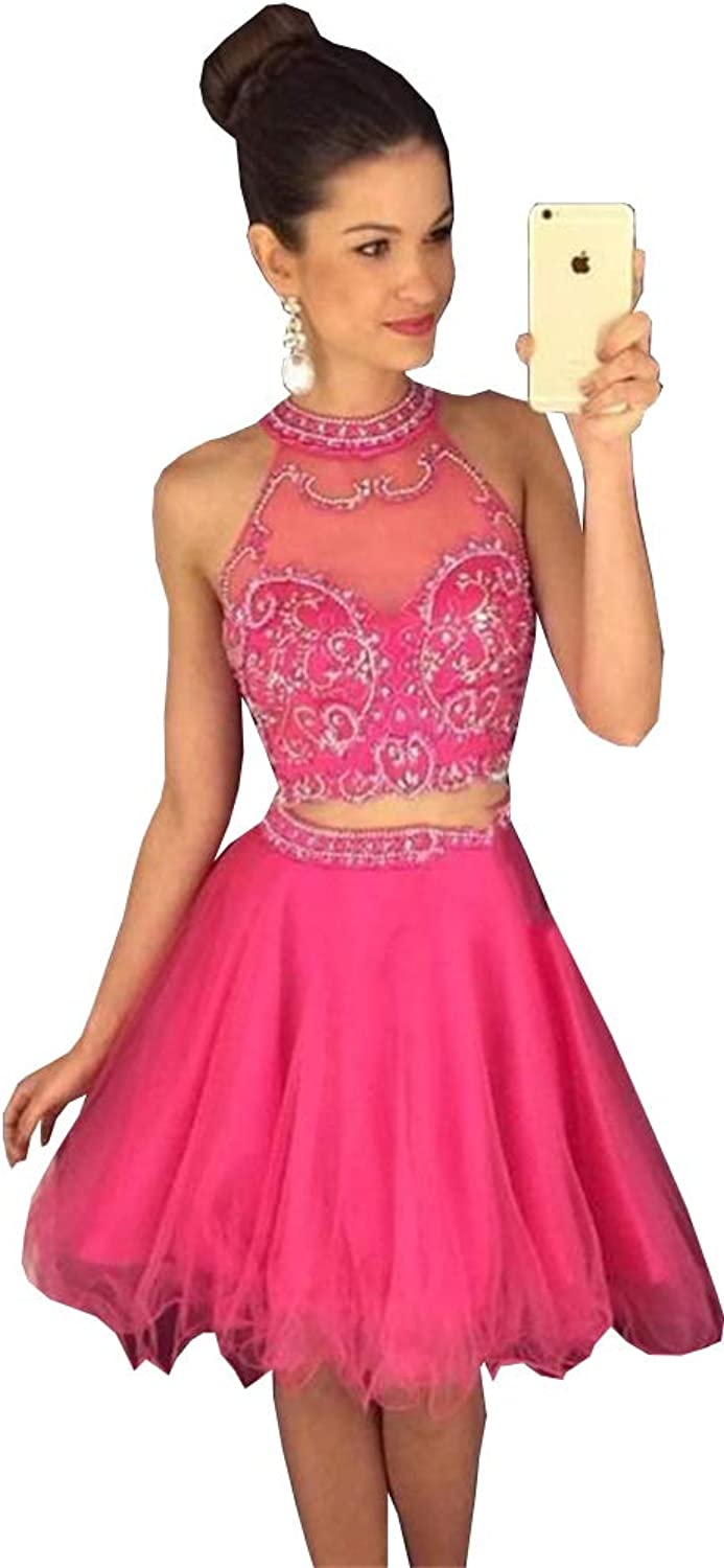 Ellystar Sexy Two Pieces Homecoming Dresses Beaded Appliques Short Prom Dresses