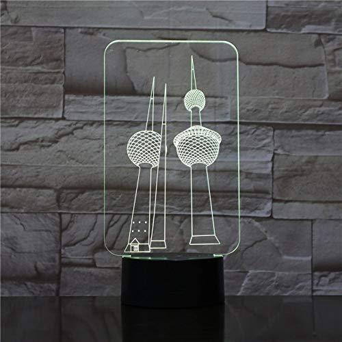 Lámpara De Mesa Modelo De Torre Con Efecto 3D Luz De Noche Led Luz De Vacaciones Luz Divertida Para Bebé Y Decoración De Dormitorio Luz 1pc
