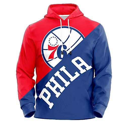 Allen Iverson No.3 Philadelphia 76ers Couples Basketball Hoodie Unisex Pop Long Sleeve Pullover Sweatshirt (Color : B, Size : XXL)