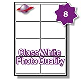 8 Per Page/Sheet 25 Sheets (200 Sticky PHOTO GLOSS Labels) Label Planet White Glossy Self-Adhesive Blank Plain A4 Permanent Printable Premium High Quality Stickers, For Printing On Laser/INKJET Printers, 99.1 x 67.1MM UK LP8/99 GWPQ, Multi-Purpose