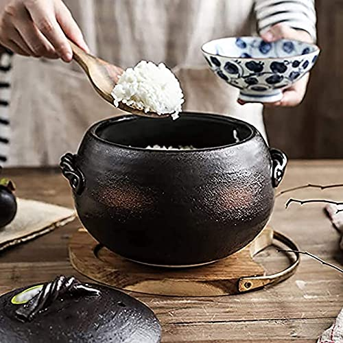 BB&UU Calor-Resistente Batería De Cocina Olla De Estufa Hot Pot,Redondo Cerámica Earthen Pot Cazuela,Japonés Donabe Olla De Arroz Olla para Sopa,Arcilla Arroz Olla-Negro 23x18.5cm(9x7inch)