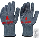 QUWIN BBQ Gloves, Oven Gloves 1472℉ Extreme Heat Resistant, Grilling Gloves Silicone Non-Slip Oven Mitts, Kitchen Gloves for BBQ, Grilling, Cooking, Baking (One Size Fits Most, Grey)-1 Pair