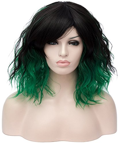 CLOCOLOR Perruque De Femme Court Bouclés 35CM Cheveux Synthétique Naturelle Fragments Obliques Perruque Deguisement pour Party Fete de la Musique Cosplay Costume Noir Vert