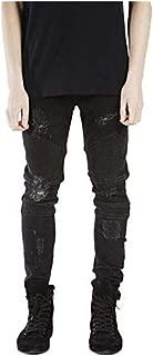 OBT Boy's Slim Moto Biker Skinny Ripped Distressed Stretch Fashion Fit Denim Jeans