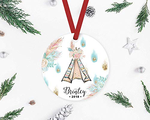 Qiu1936 Personalized Porcelain Ornament Baby's First Christmas Ornament, Tipi Tent, Baby's First Christmas Ornament, Christmas Ornament, Ornament for Baby Girl