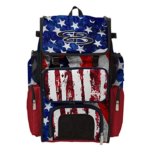 Boombah Superpack Bat Bag - Backpack Version (no Wheels) - Holds 4 Bats - USA Stars & Stripes Navy/Red/White