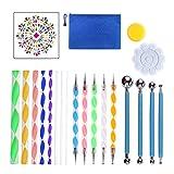 JIABAN Kit de 21 piezas de herramientas para pintar con forma de mandala, para pintar rocas, colorear, dibujar y dibujar