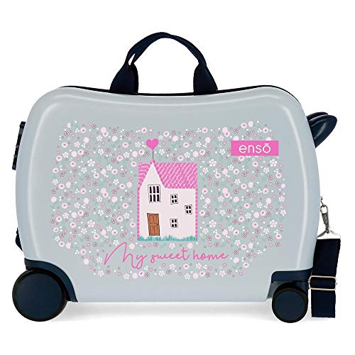Enso My Sweet Home Children's Suitcase Blue 50 x 38 x 20 cm Rigid Polyester Side Combination Closure 34L 3kg 4 Hand Luggage