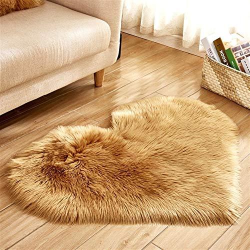 Liebes-Herz-Fest Teppich-Pelz-Imitation Wollteppich Boden Vorleger Artificial Sheepskin Shaggy Teppiche for Wohnzimmer Schlafzimmer (Color : Khaki, Size : 70x90cm)