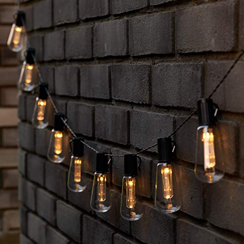 SA Products Vintage Edison Bulb Solar String Lights - Hanging Decor Ornaments for Patio, Garden, Decking, Gazebo, Pergola Party - Energy-Saving, Waterproof Outdoor Lighting - Warm White 10 LEDs, 2.25m