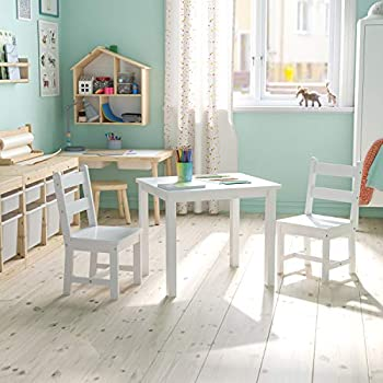 Flash Furniture Kids Solid Hardwood Table and Chair Set for Playroom Bedroom Kitchen - 3 Piece Set - White