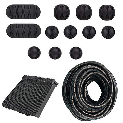 BRACO Pack Organizador de Cables. 12 Clips adhesivos + 50 Velcros o...