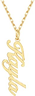 gold vertical nameplate necklace
