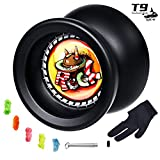 MAGICYOYO Responsive Yoyo T9 Rock-Black, Professional Spin Yoyo, Alloy Yo Yos for Kids Beginner + Replacement Unresponsive Yoyo Bearing + Removal Bearing Tool + Glove + 5 Yoyo Strings