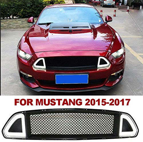 XDHN Fahrzeugmodifikation Fahrzeugzubehör Front Upper Mesh Grille Grill Mit Licht Für Ford Mustang 2015-2017,White,White
