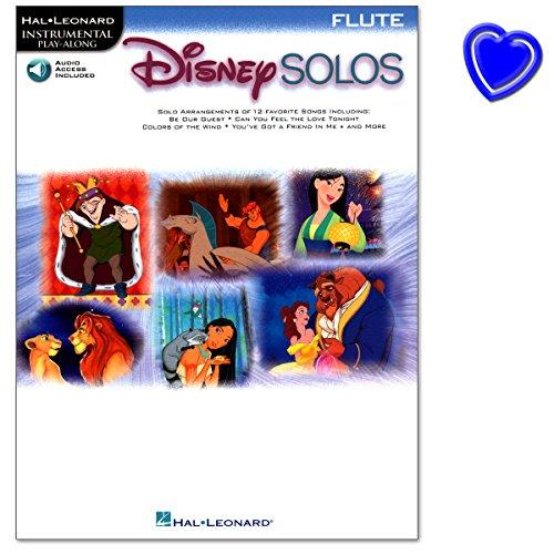 Disney Solos für Flöte mit Online Audio Access- Zwölf bekannte Disney-Klassiker mit Online Audio Access - Notenbuch mit bunter herzförmiger Notenklammer