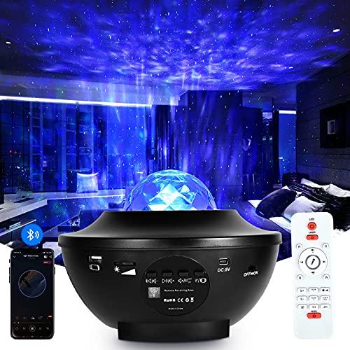 Sternenhimmel Projektor, LED Galaxy Light Kids-Nachtlicht, Sternenlicht mit Fernbedienung, integrierter Bluetooth-Lautsprecher, Sprachsteuerung, Timer