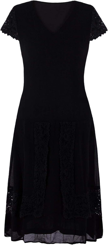 VIJIV Womens Black 1920s Lace Flapper Dresses V Neck Roaring 20s Gatsby Dress with Sleeves