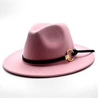 Lei Zhang Men Women Wool Fedora Hat With Leather Belt Pop Jazz Hat Wide Brim Church Hat Casual Wild Fascinator Hat Size 56-58CM