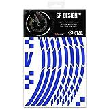 VFLUO GP Design™, Kit Bandes Jantes Moto rétro réfléchissantes (1 Roue), 3M Technology™, Liseret Largeur XL : 10 mm, Bleu
