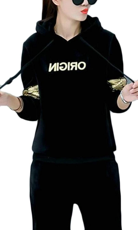 Jxfd Womens Casual Velvet Two Piece Set Hooded Sweatshirt and Pants Sportswear