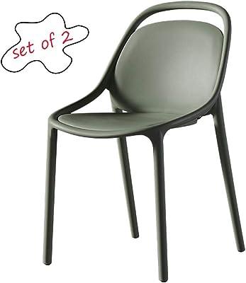 Amazon.com: Sillas de comedor, silla de comedor de plástico ...