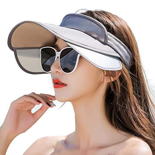 Sombreros Mujer Viseras Gorras para Sol Verano Sombrero Protector Solar Visera Gorros Plegable Moda Salvaje Gorra Bicicleta Viaje Protección UV Protector Cuello Sombrilla Hecho Mano,A-OneSize